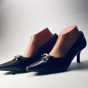 Cato brown faux alligator combined with patent